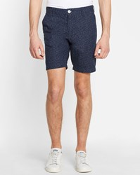 Minimum Navy Stroma Print Denim Shorts Blue