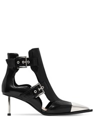 Alexander Mcqueen 65Mm Leather Ankle Boots W Cut Outs Black Silver