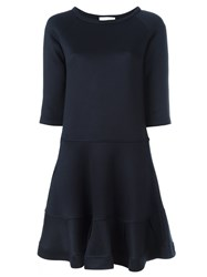 Chloe Fluted Hem Dress Blue