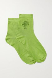Maria La Rosa Leo Embroidered Silk Blend Socks Green