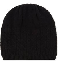 Johnstons Cable Knit Cashmere Hat Black