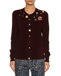 Dolce And Gabbana Button Embellished Cashmere Cardigan Wine
