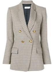 A.L.C. Double Breasted Checked Blazer Nude And Neutrals