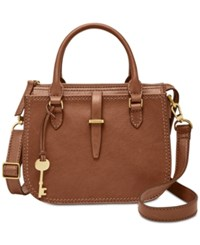Fossil Ryder Mini Satchel Brown Gold