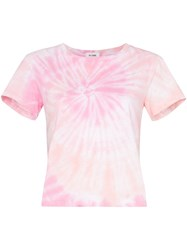 Re Done Tie Dye Cropped T Shirt Pink