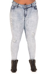 Poetic Justice Plus Size Women's Madison Mid Rise Skinny Jeans Blue