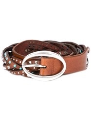 Orciani Braided Studded Belt Women Leather Brass 85 Brown