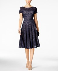 Sangria Sequined Lace Midi Dress Navy