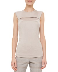 Akris Jewel Neck Sleeveless Knit Top Kraft