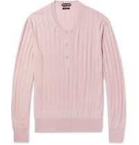Tom Ford Ribbed Cashmere And Silk Blend Henley Sweater Pink