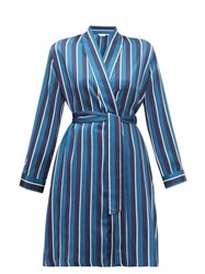 Derek Rose Brindisi Striped Silk Satin Robe Navy