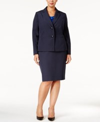 Le Suit Plus Size Two Button Skirt Navy