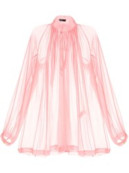 Kitx Gathered Neck Sheer Blouse Pink