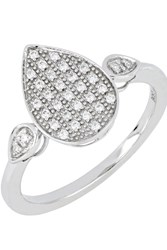 Bony Levy 18K White Gold Diamond Pave Pear Ring Size 6.5 0.12 Ctw