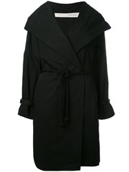 Isabel Benenato Belted Hooded Coat Black