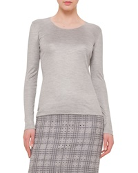 Akris Long Sleeve Round Neck Tee Gravel