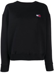 Tommy Jeans Logo Embroidered Sweatshirt Black