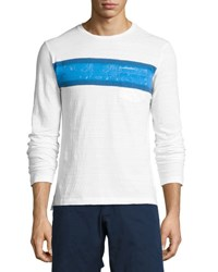 Orlebar Brown Robby Classic Fit Striped Long Sleeve T Shirt White Maritime Navy