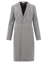 Alexander Mcqueen Single Breasted Checked Wool Twill Overcoat Black White