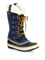 Sorel Joan Of Artic Suede And Faux Shearling Winter Boots Collegiate Navy