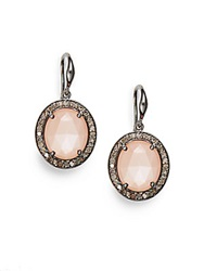 Bavna Diamond Peach Moonstone And Sterling Silver Earrings