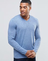 Abercrombie And Fitch V Neck Jumper In Blue Blue