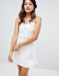 Honey Punch Lace Up Front Cami Dress With Frill Hem White