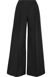 Antonio Berardi Cotton And Wool Blend Wide Leg Pants Black