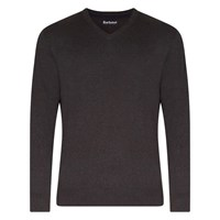 Barbour Pima V Neck Jumper Charcoal