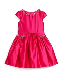 David Charles Cap Sleeve Satin A Line Dress With Rhinestones Fuchsia Pink