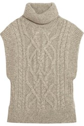 Isabel Marant Grant Cable Knit Alpaca Blend Sweater Light Gray