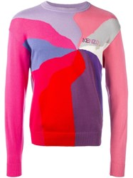 Kenzo Vintage Graphic Knit Jumper Pink Purple