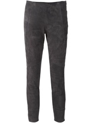 Brunello Cucinelli Skinny Leather Trousers Grey