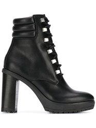 Tommy Hilfiger Studded Lace Up Boots Black
