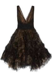 Marchesa Appliqued Tulle Mini Dress Black
