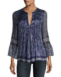Elie Tahari Orion Bell Sleeve Floral Print Blouse Blue