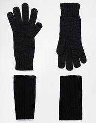 Asos Wool Gloves With Palmwarmer Blackcharcoal