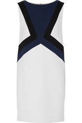 Emilio Pucci Color Block Stretch Wool Crepe Mini Dress White