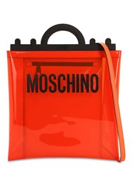 Moschino Logo Patch Pvc Tote Bag Orange