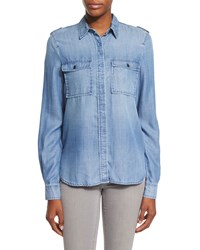 Frame Denim Le Military Button Front Shirt Lake Blue