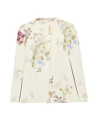 Ted Baker Zephir Spring Meadow Wool And Cashmere Blend Cape Ivory