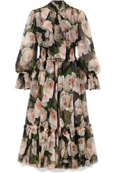Dolce And Gabbana Pussy Bow Floral Print Silk Chiffon Dress Black