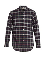 Burberry George Checked Cotton Shirt Navy Multi