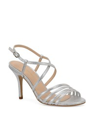 Carmen Marc Valvo Gracie Embossed Metallic Leather Sandals Silver