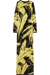 Sibling Intarsia Wool Maxi Dress Pastel Yellow