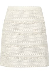Giambattista Valli Cotton Blend Lace Skirt Ivory