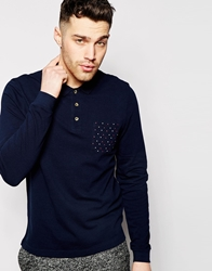 Asos Long Sleeve Polo Shirt With Polka Dot Print Pocket Navy
