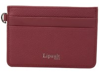 Lipault Paris Plume Elegance Leather Card Holder Ruby Credit Card Wallet