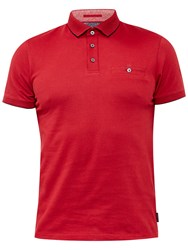 Ted Baker Clay Flat Knit Collar Polo Shirt Red