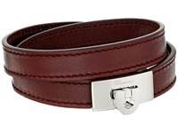 Salvatore Ferragamo Leather Wrap Bracelet Wine